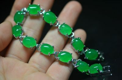Exquisite Tibetan Silver Manual Inlay Green Jade Fashion Bracelet..