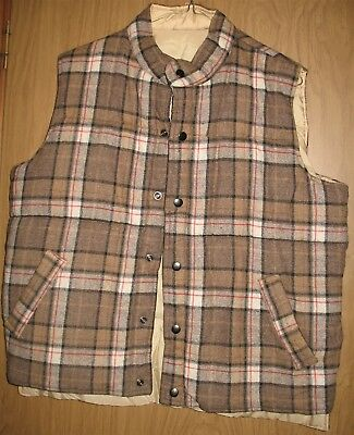 Vintage Mens XL Reversible Quilted Tan/Red/White Flannel Farm Work Vest