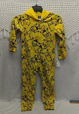 Pokemon Pikachu Hooded Fleece Suit Pajama one piece Size M 7/9 nwt Christmas
