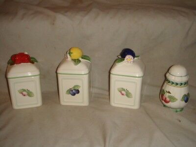 Villeroy and Boch French Garden Fleurence Salt & 3 Spice Containers