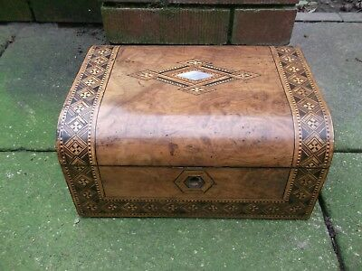 Antique wooden writing slope - Wood inlay secret drawers
