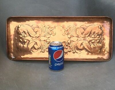 """Original Arts And Crafts Newlyn Copper 18"""" Tray With Angry Looking Fish Design"""