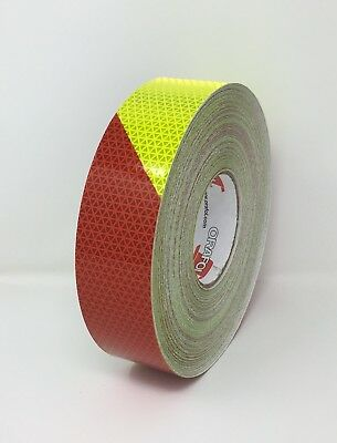 "2"" Orafol V98 Conformable Chevron Fluorescent Lime Red Reflective Safety Tape RH"