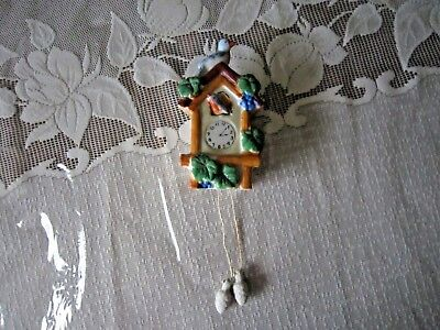 Vtg Porcelain Cuckoo Clock Wall Pocket-Blue Birds with Acorn Weights - Japan
