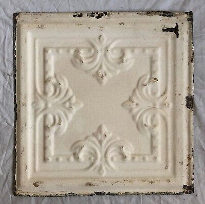 1890's 12 x 12 Antique Tin Ceiling Tile Ivory Metal Reclaimed Anniversary 35-19