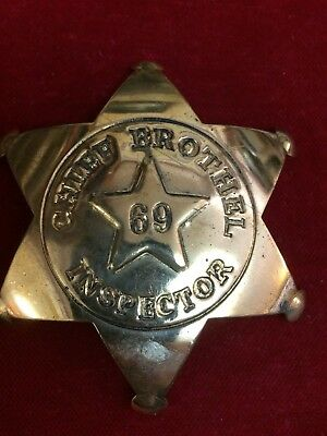Badge: Chief Brothel Inspector 69, brass star, Police, Lawman, Old West