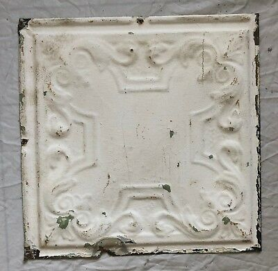 1890's 12 x 12 Antique Tin Ceiling Tile White Metal Reclaimed Anniversary 41-19
