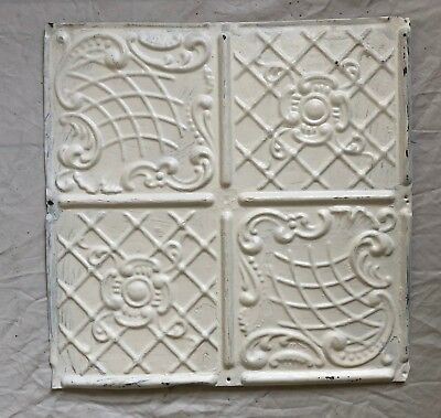 1890's 12 x 12 Antique Tin Ceiling Tile White Metal Reclaimed Anniversary 42-19