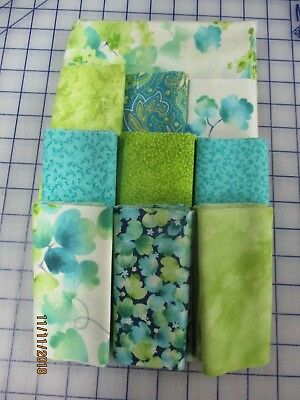 Awesome Floral In Teal & Blends Disappearing 9 Patch Quilt Top Kit