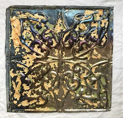 1890's 12 x 12 Antique Tin Ceiling Tile Bare Metal Reclaimed Anniversary 45-19