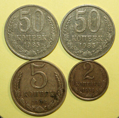 Russia - Group of 4 Coins - Extremely Fine or Better Coins -See Pictures