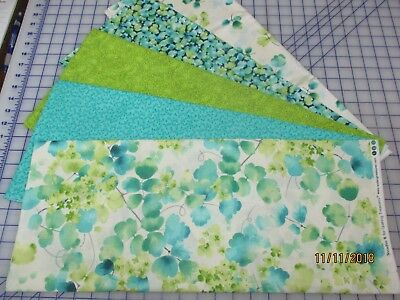 Beautiful Teal & Blends Floral 5 Yard Quilt Kit Fabric & Pattern