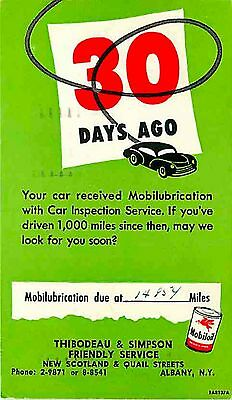 Advertising Postcard Mobil OIl, Thibodeau & Simpson, Albany, New York used 1953