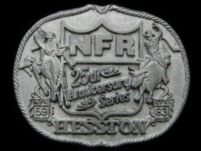 HL25111 GREAT 1983 *NFR 25th ANNIVERSARY* HESSTON RODEO BUCKLE