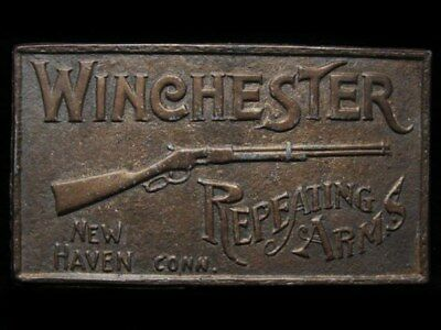 ID21140 VINTAGE 1970s *WINCHESTER REPEATING ARMS* BRASS PLATED BUCKLE