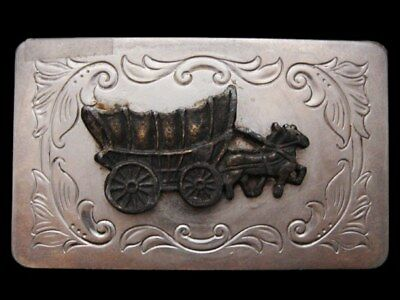 IB19111 VINTAGE 1970s ***COVERED WAGON*** WESTERN STYLE SILVERTONE BUCKLE