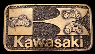 IE02101 AWESOME 1970s VINTAGE **KAWASAKI** MOTORCYCLES BUCKLE