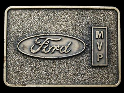 IE09166 VINTAGE 1970s ***FORD MOTOR COMPANY*** MVP BRASS PLATED BELT BUCKLE