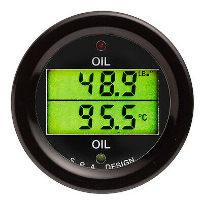 SPA Design Oil Pressure And Temperature Dual Gauge - Black Dial Face And Bezel