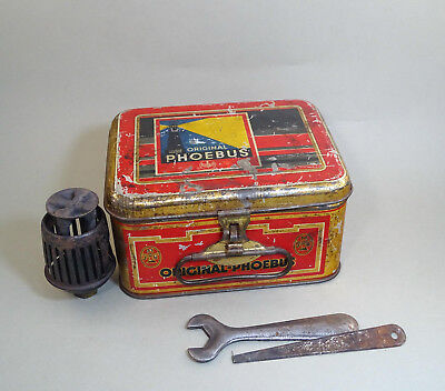 Old Vintage EMPTY Tin Box from Phoebus Stove , Some Items Inside