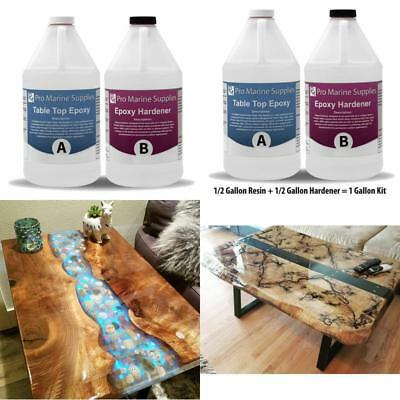Crystal Clear Bar Table Top Epoxy Resin Coating Wood Art Work Kit Gloss 1 Gallon