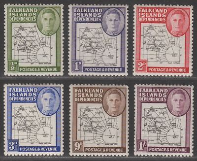 Falkland Islands Dependencies 1946 KGVI Thick Map Part Set to 1sh Mint