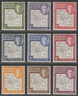 Falkland Islands Dependencies 1948 KGVI Thin Map Set Mint SG G9-G16 cat £100