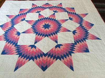 "Broken Star Quilt All Hand Made & Quilted 80"" x 84"" White-Pink-Blue-Purple"
