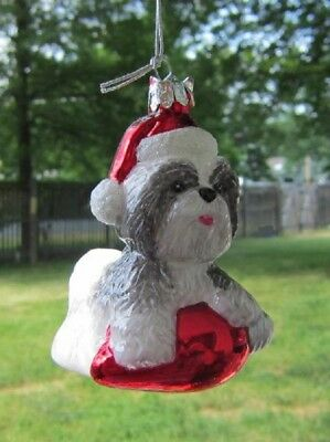 Glass Ornament SHIH TZU GRAY w/Holiday Bulb Dog Breed Christmas Ornament