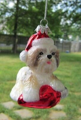 Glass Ornament SHIH TZU TAN w/Holiday Bulb Dog Breed Christmas Ornament