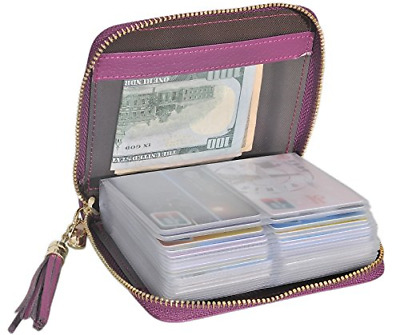 Easyoulife Womens Credit Card Holder Wallet Zip Leather Card Case RFID Blocking