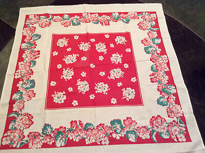 """Vintage Tablecloth Red,White , Green 44"""" x 46"""" See No Wear"""