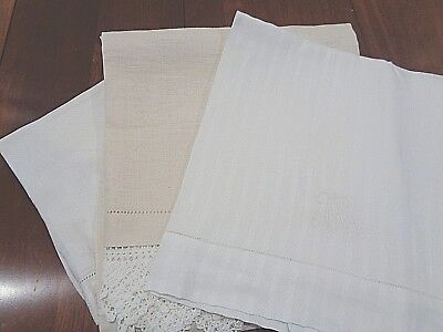 Antique 100% Linen hand decorated Very High End Bath Towels Set of 3