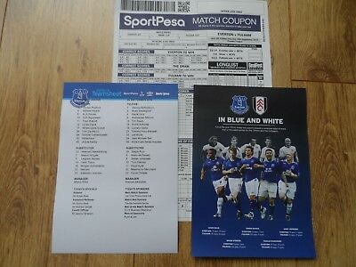 2018/19 - EVERTON v FULHAM  - Teamsheet + Matchday Coupon