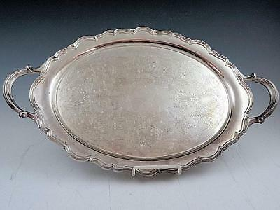 "20"" Reed & Barton 7047 Silver Plate Serving Tray Lined Border & Chased Surface"