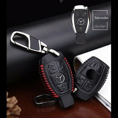 Protection Clé Mercedes-Benz Cuir Housse/Case/Cover ///AMG Leather☆Keychain+++