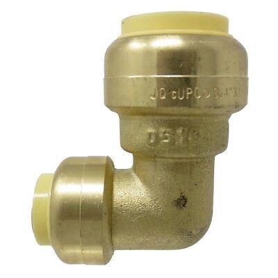 "1/2"" x 3/4"" Sharkbite Style PUSH FIT Elbow Lead Free Brass - PEX GUY"