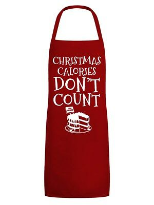 Apron Christmas Calories Don't Count Red