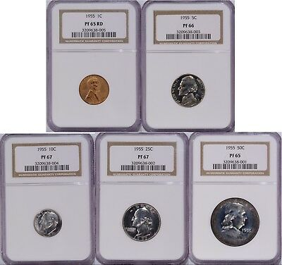 1955 Proof Set all 5 Coins Graded by NGC PR 65 66 and 67 1C 5C 10C 25C 50C Toned
