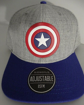 Captain America Logo Marvel Comics Curved Snap Back Hat Nwt 2feace05764
