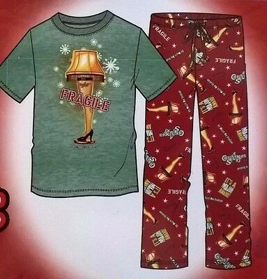 A Christmas Story Men's Sleep PaJaMa Set 2pc T Shirt & Micro Fleece Pants Small