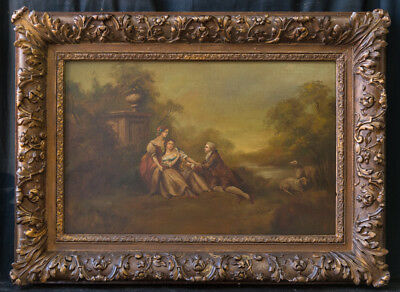 "Antique French Original Old Master Oil Painting ""Affection"" Signed F Boucher"