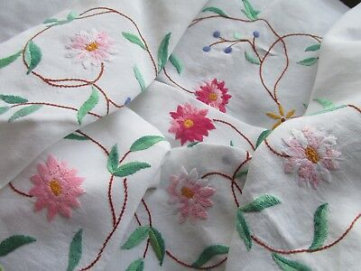 Vintage Hand Embroidered Tablecloth-BEAUTIFUL FLORAL'S