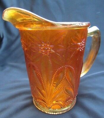 1910 Antique Carnival Glass Imperial Marigold Poinsettia Milk Pitcher Iridescent