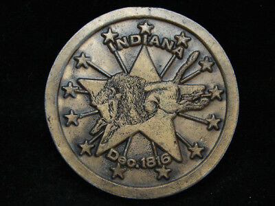 Pb05111 Vintage 1974 **Indiana Dec. 1816** Statehood Commemorative Belt Buckle
