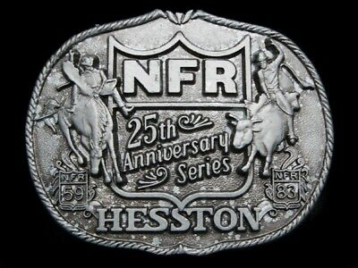 LK29155 *NOS* VINTAGE 1983 **NFR** 25th ANNIVERSARY SERIES HESSTON RODEO BUCKLE