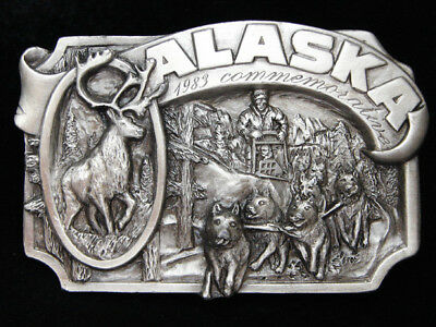 Pf13108 Vintage 1983 **Alaska** State Commemorative Pewter Siskiyou Belt Buckle