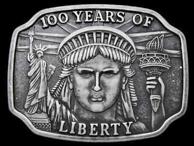 Ig03108 Vintage 1984 ***100 Years - Statue Of Liberty**** Pewter Belt Buckle