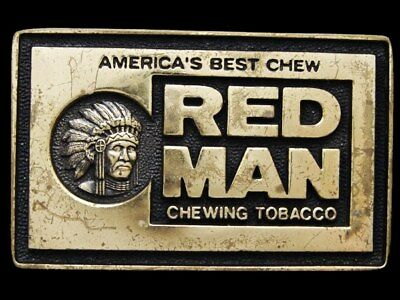 IH03151 COOL VINTAGE 1970s ***RED MAN CHEWING TOBACCO*** SOLID BRASS BUCKLE