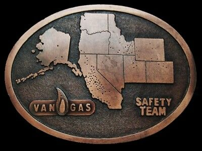 LI07116 VINTAGE 1970s ***VAN GAS SAFETY TEAM*** ENERGY BRASSTONE BELT BUCKLE